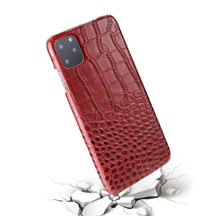 Кожаный чехол EsCase Crocodile Skin-like для iPhone 11 Про Макс- красный