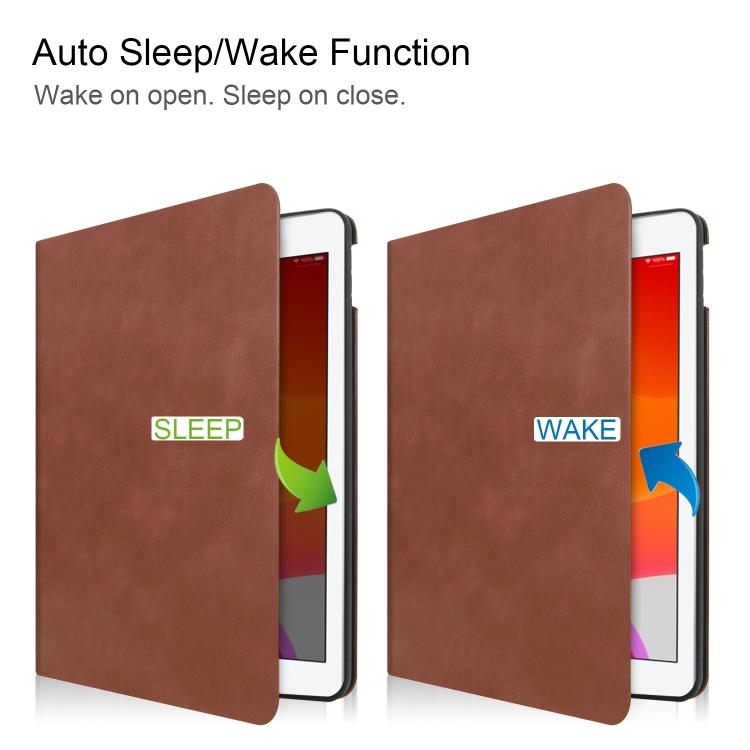 Кожаный чехол Cowhide Texture на iPad 8/7 10.2 (2019/2020) с держателем для стилуса - коричневый