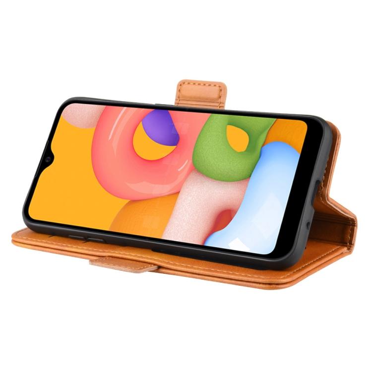 Чехол-книжка Dual-side Magnetic Buckle для Самсунг A01 - оранжевый