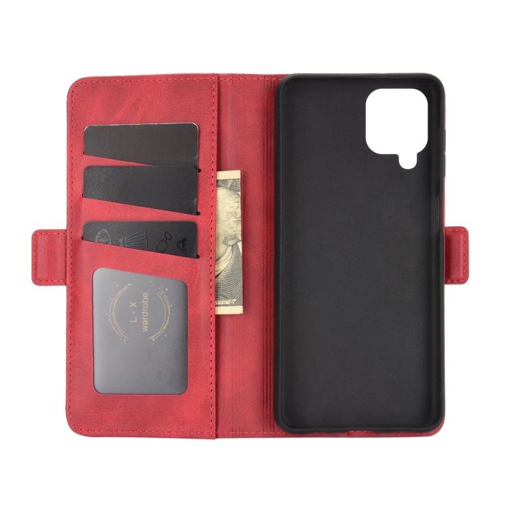 Чехол-книжка с слотами под кредитки на Самсунг Гелекси А12 красного цвета