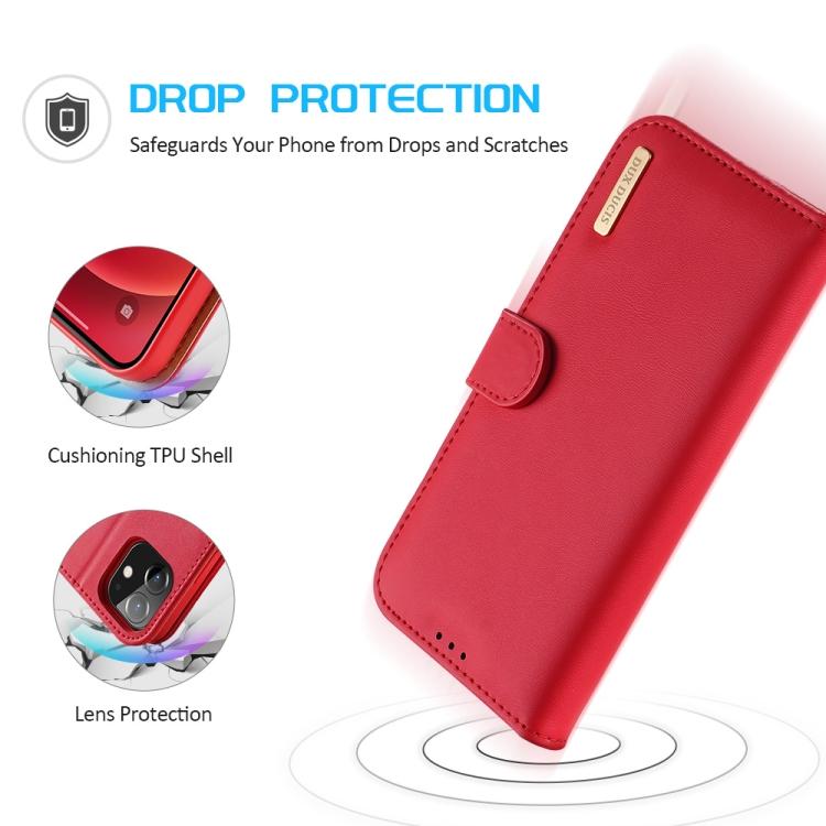 Чехол-книжка DUX DUCIS Hivo Series на iPhone 12 mini - красный