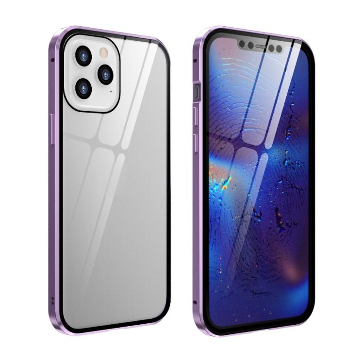 Двухсторонний чехол-книжка фиолетового цвета полупрозрачный на Айфон 12
