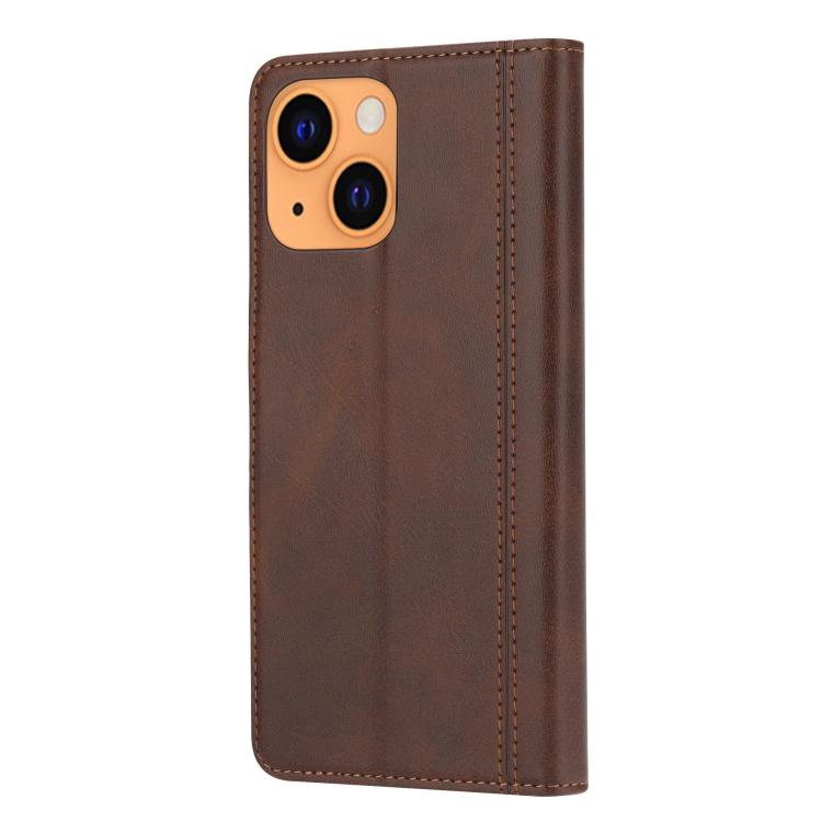 Чехол-книжка Calf Texture Double на iPhone 13 - коричневый