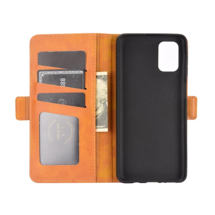 Чехол-книжка с слотами под кредитки оранжевого цвета на Самсунг Гелекси М51