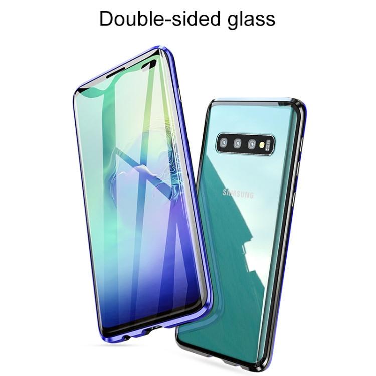 Двусторонний магнитный чехол Magnetic Angular Frame Tempered Glass на Samsung Galaxy S10 - черно-золотой