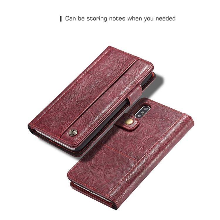 Кожаный чехол-книжка CaseMe 010  на Айфон Xs Макс - красный