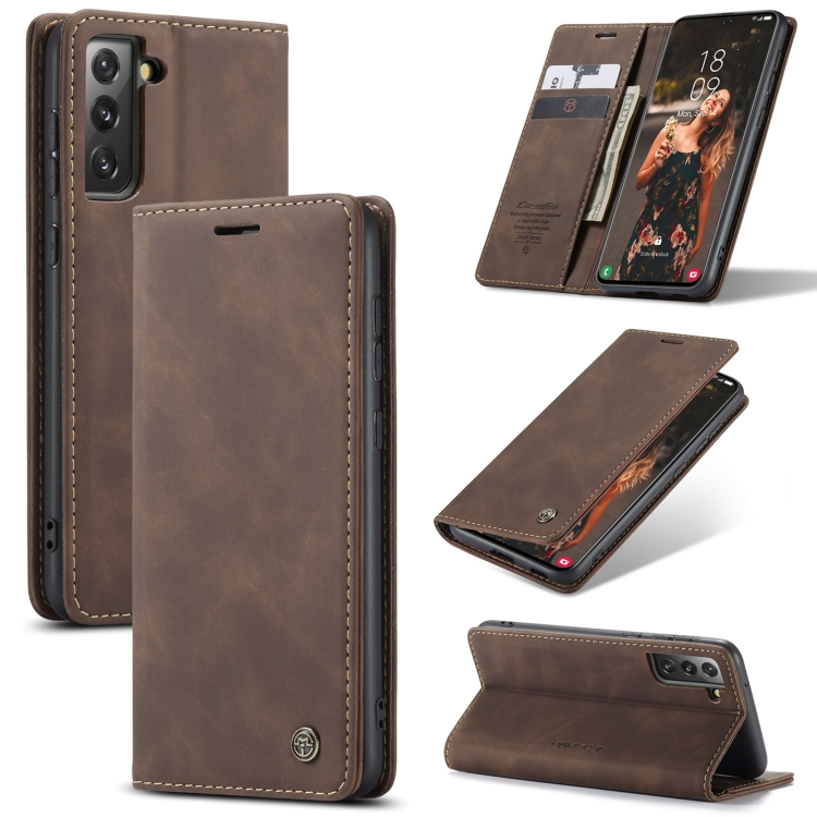 Чехол-книжка CaseMe 013 Series для Samsung Galaxy S21 FE - кофейный