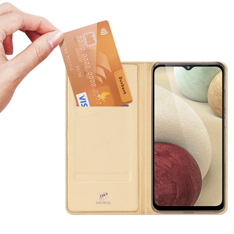 Чехол-книжка DUX DUCIS золотого цвета с карманом для карты на Самсунг Галакси A12/M12