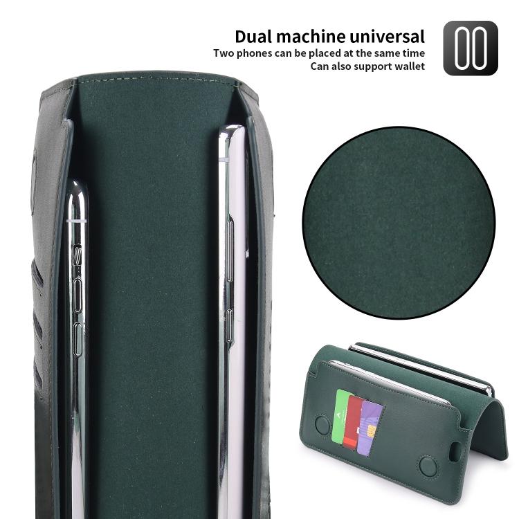 Кожаный универсальный чехол-кошелек POLA для Айфон - зеленый