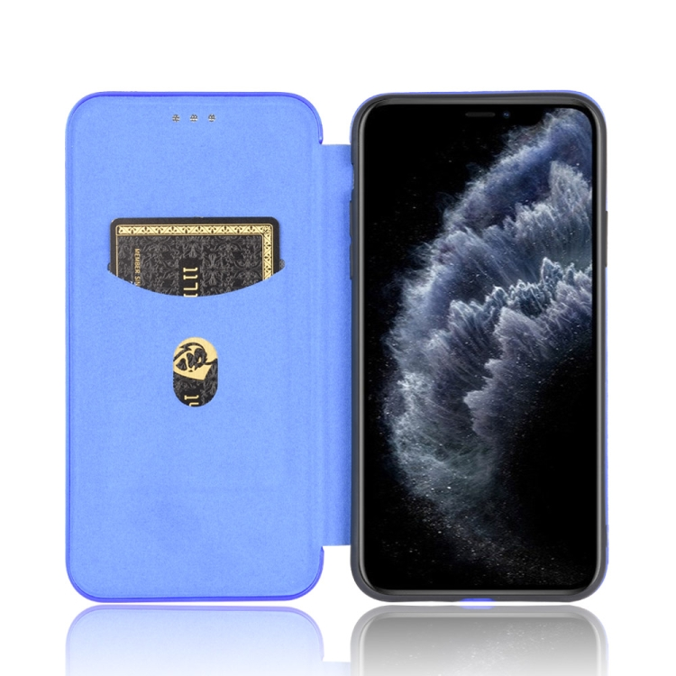 Чехол-книжка Carbon Fiber Texture на iPhone 12 Pro Max - синий