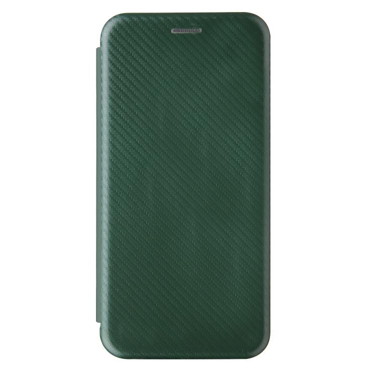 Чехол-книжка Carbon Fiber Texture на Samsung Galaxy A02 / M02 - зеленый
