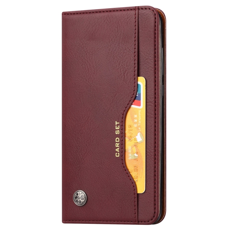 Чехол-книжка Knead Skin Texture на Samsung Galaxy Note 20 - винно-красный