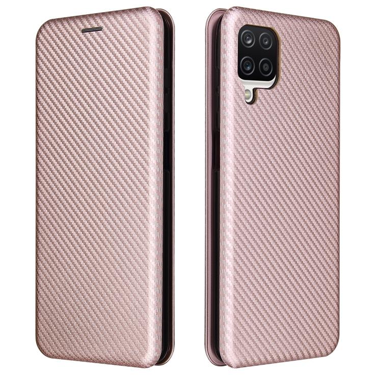Розовый чехол-книжка Carbon Fiber на Samsung Galaxy A12 / M12