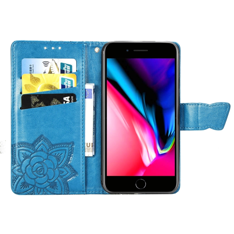 Чехол-книжка Butterfly Love Flower Embossed на iPhone SE 2 2020/7/8 - синий