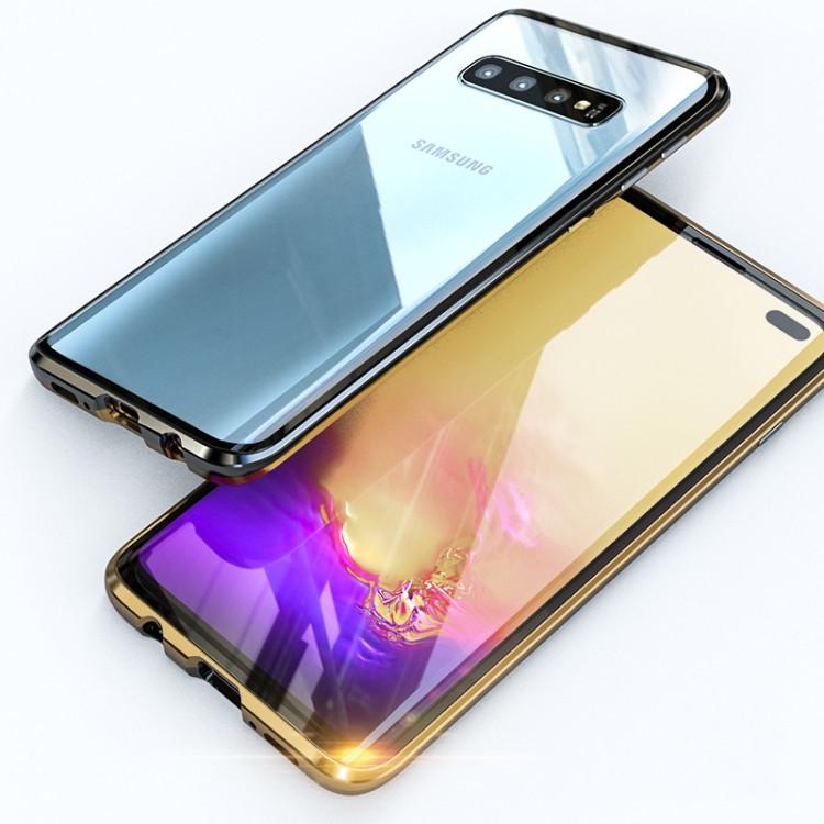 Двусторонний магнитный чехол Magnetic Angular Frame Tempered Glass на Samsung Galaxy S10 + Plus - черно- золотой