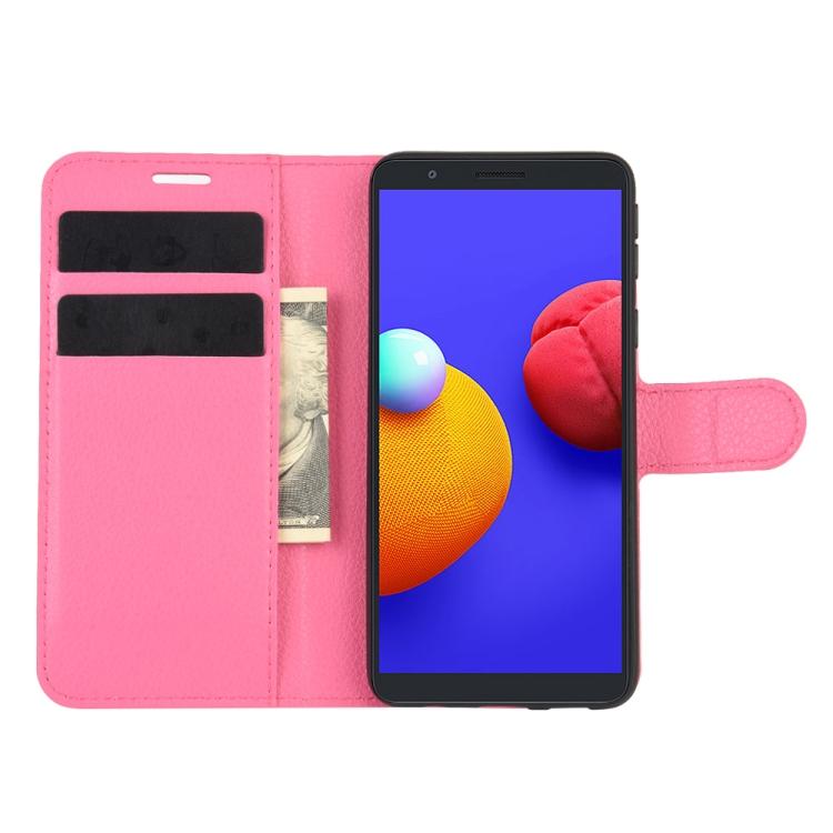 Чехол-книжка Litchi Texture на Samsung Galaxy A01 Core / M01 Core - пурпурно-красный