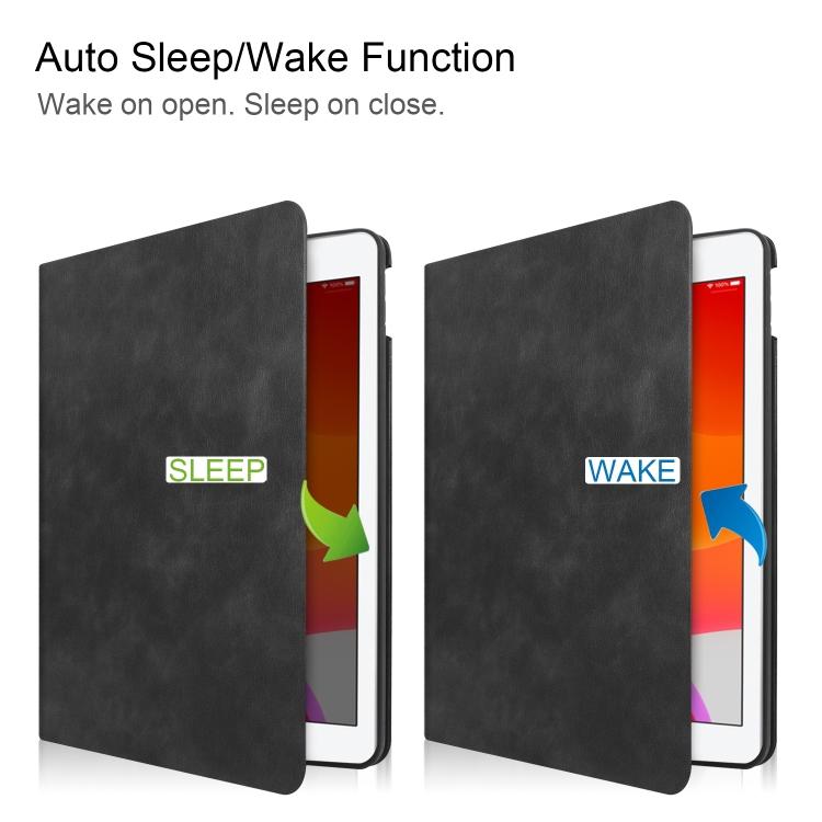 Кожаный чехол Cowhide Texture на Айпад 10.2 с функцией Smart Sleep / Wake-up - черный