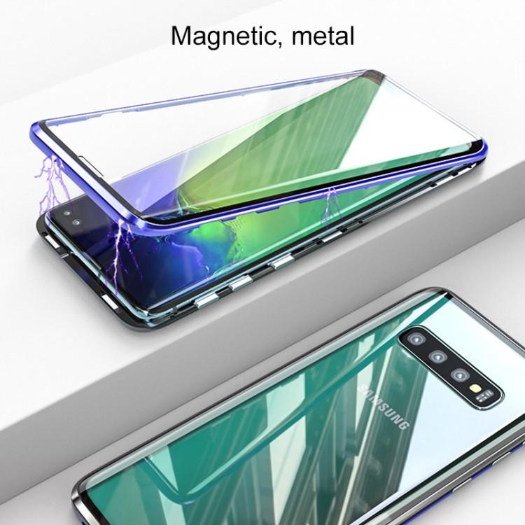 Двусторонний магнитный чехол Magnetic Angular Frame Tempered Glass на Самсунг Галакси S10 - черный