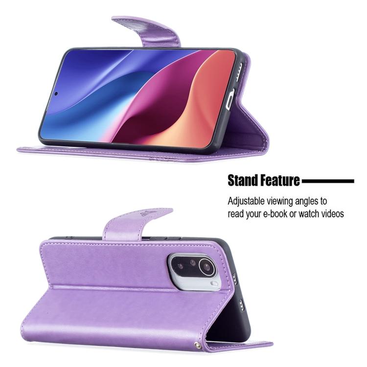 Чехол-книжка со слотами  Purple Butterflies  на Xiaomi Mi 11i/Redmi K40/Xiaomi Poco F3/K40 Pro
