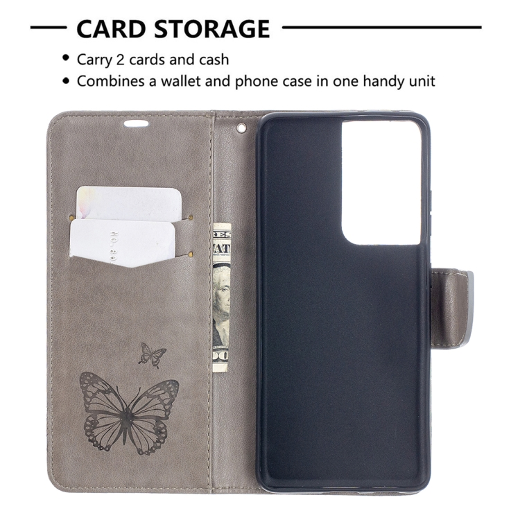 Серый чехол-книжка Butterflies для Samsung Galaxy S21 Ultra