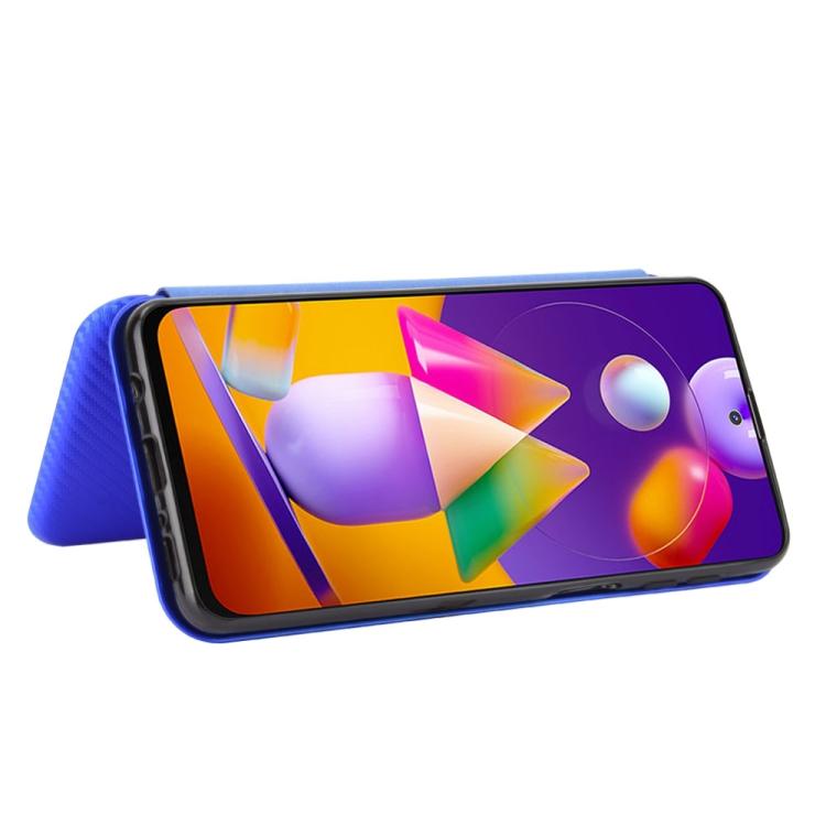 Чехол-книжка Carbon Fiber Texture на Samsung Galaxy M31s - синий