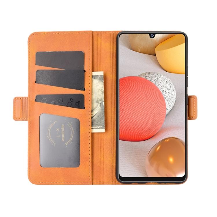 Чехол-книжка Dual-side Magnetic Buckle для Самсунг Галакси A42 - оранжевый