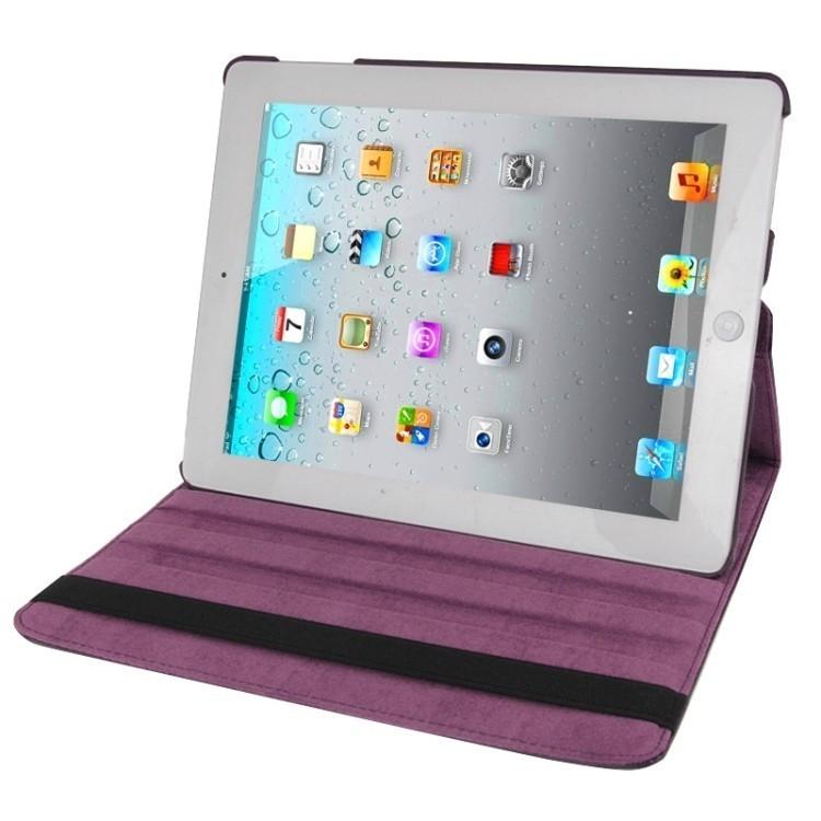 Кожаный Чехол 360 Degree Rotatable Sleep / Wake-up фиолетовый для iPad 4/ 3/ 2