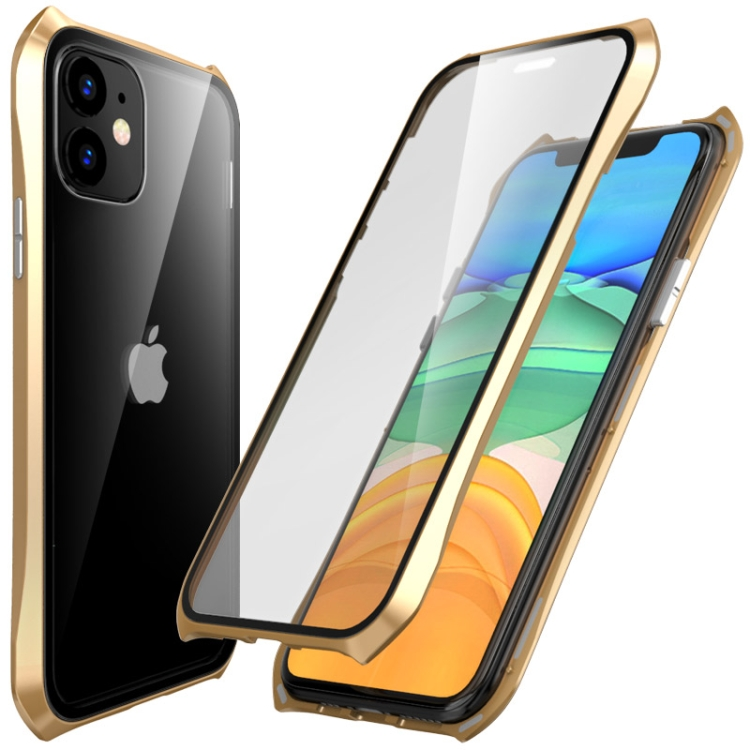 Двусторонний магнитный чехол Magnetic Shell Series для Айфон 11 -золотой