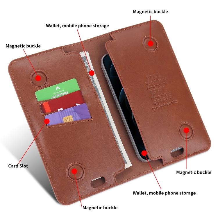Кожаный универсальный чехол-кошелек POLA для iPhone - коричневый