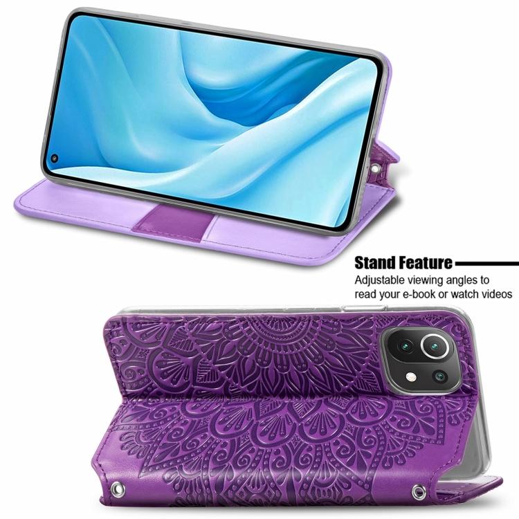 Фиолетовый чехол-книжка со складной подставкой на Сяоми Ми 11 Лайт
