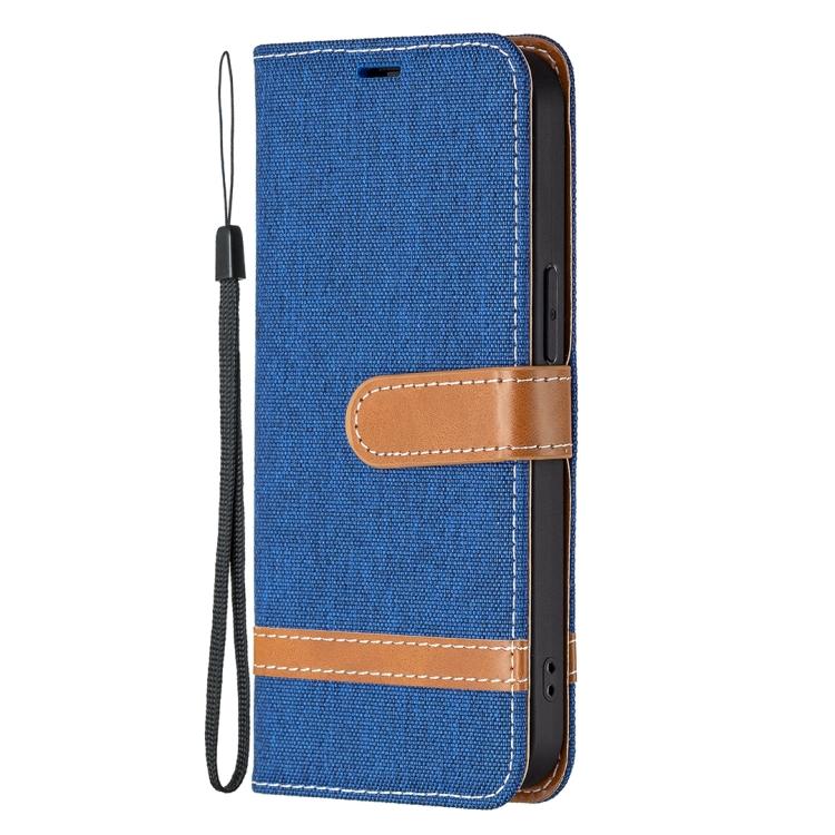 Тканевой чехол-книжка синего цвета на iPhone 13