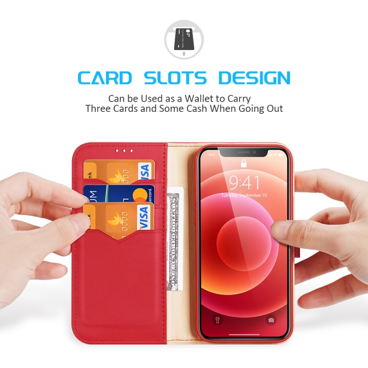 Чехол-книжка с слотами под кредитки красного цвета для Айфон 12