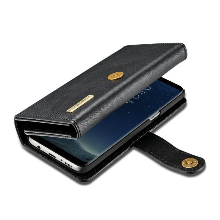 Кожаный чехол-кошелек DG.MING Triple Fold Crazy Horse Texture на Самсунг С8 Плюс - черный