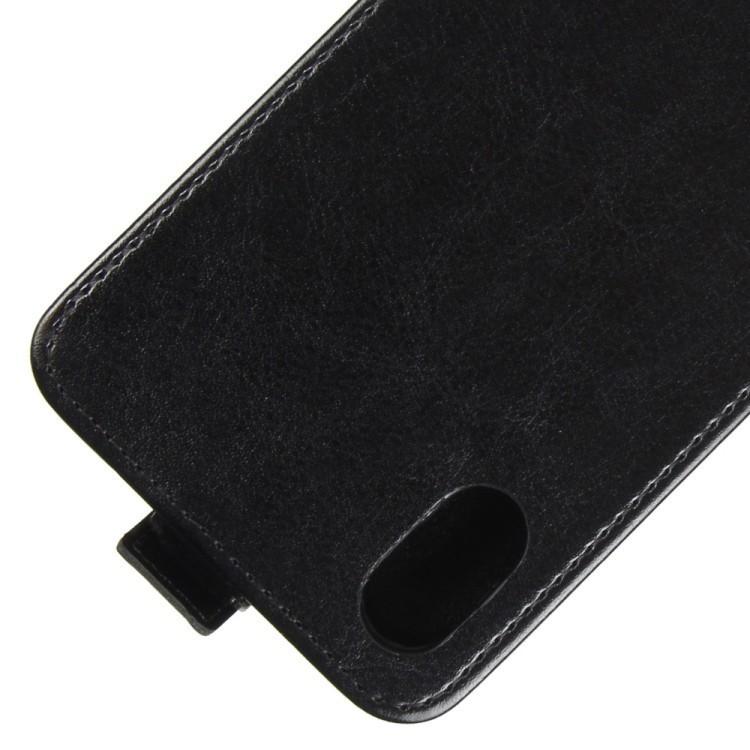 Кожаный флип чехол на iPhone X/Xs Crazy Horse Texture со слотом для кредитной карты черный