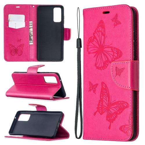 Чехол-книжка Butterflies Pattern на Samsung Galaxy S20 FE - пурпурно-красный