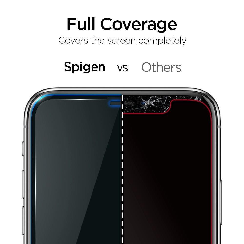Защитное каленое стекло Spigen Alm Glass Fc IPhone 11 Black