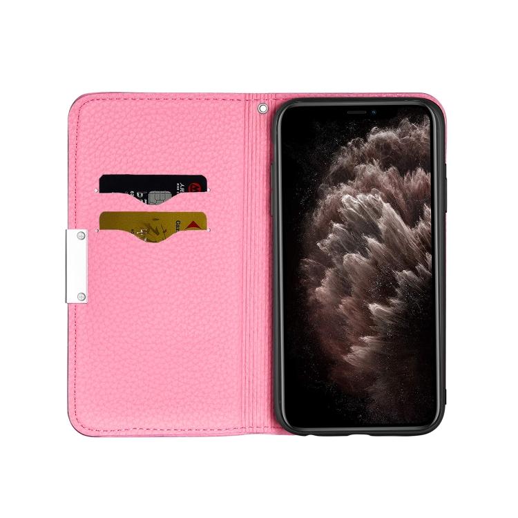 Розовый чехол-книжка Litchi Texture для Айфон 12 Про Макс