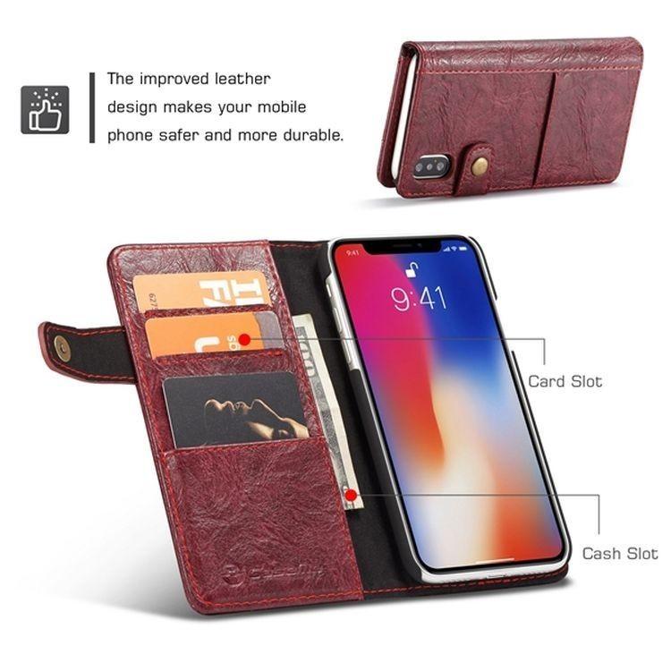 Кожаный чехол-книжка CaseMe 010  с подставкой на Айфон Xs Макс - красный