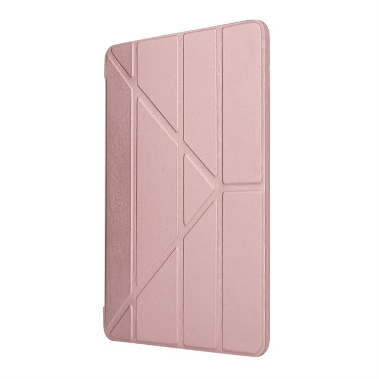 Чехол- книжка Solid Color Trid-fold Deformation Stand на iPad 8/7 10.2 (2019/2020) -розовое золото
