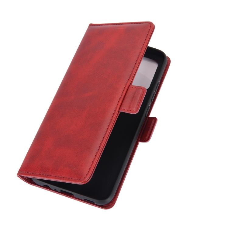 Красный кожаный чехол-книжка для Самсунг Гелекси А02с
