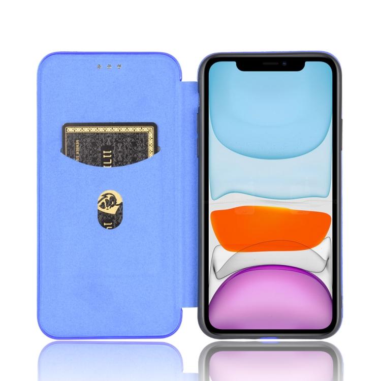 Синий чехол-книжка с слотом под кредитку на Айфон 12