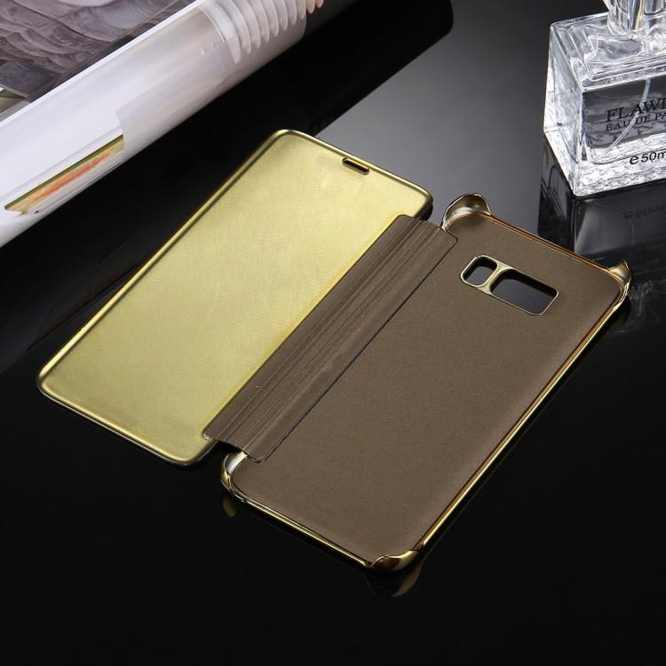 Зеркальный чехол- книжка Electroplating Mirror на Самсунг С8-золотой