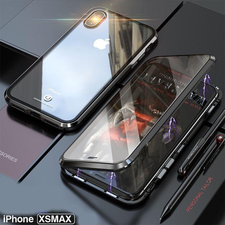Двусторонний Магнитный Стеклянный Чехол Magnetic Metal Glass Front Back на iPhone Xs Max Черный