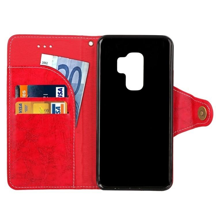 Красный чехол-книжка с магнитной защелкой для Самсунг Гелекси С9 Плюс