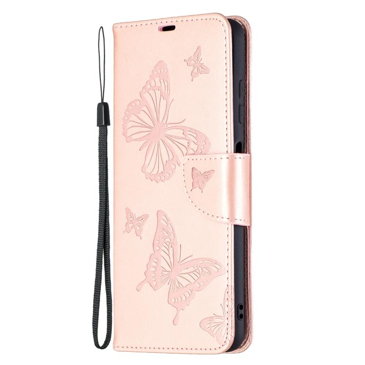 Чехол-книжка Butterflies цвета розовое золото на Xiaomi Poco X3 Pro