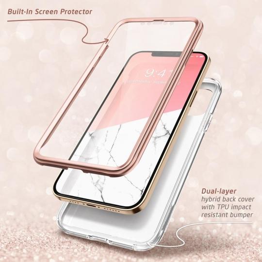 Двухсторонний чехол Supcase Cosmo для Айфон 12 Pro / iPhone 12 Marble