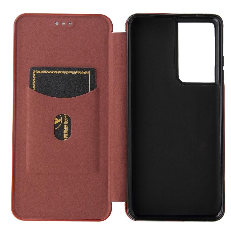 Карбоновый чехол-книжка коричневого цвета на Самсунг Галакси  С21 Ультра