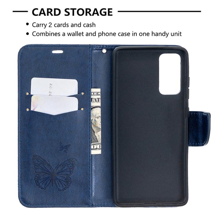 Кожаный чехол-книжка синего цвета со слотами под кредитки на Самсунг Гелекси С20 ФЕи