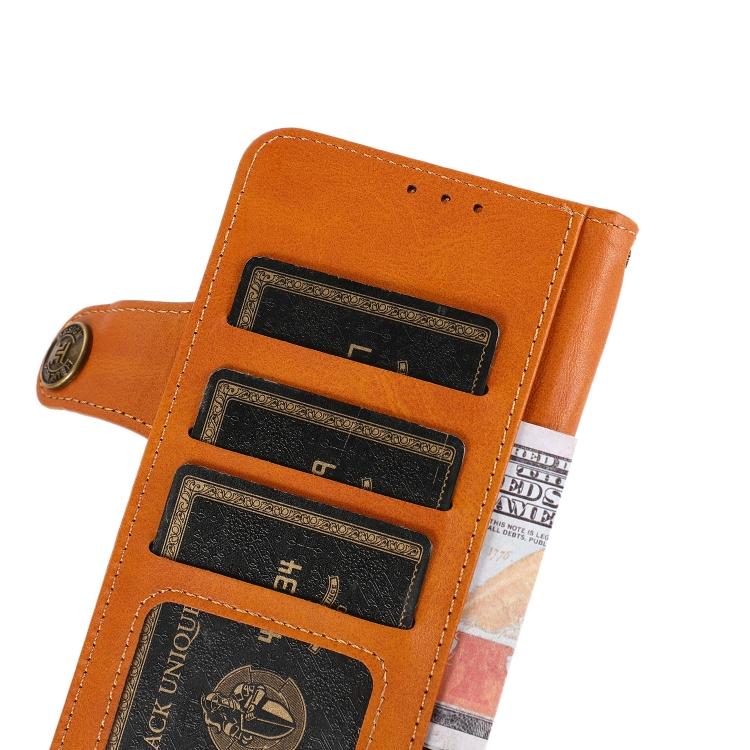 Чехол-книжка KHAZNEH Dual-Splicing для Ксяоми Редми Нот 10 Про - оранжевый