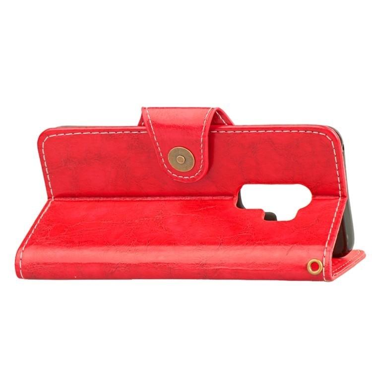 Красный чехол-книжка с складной подставкой на Самсунг Гелекси С9 Плюс